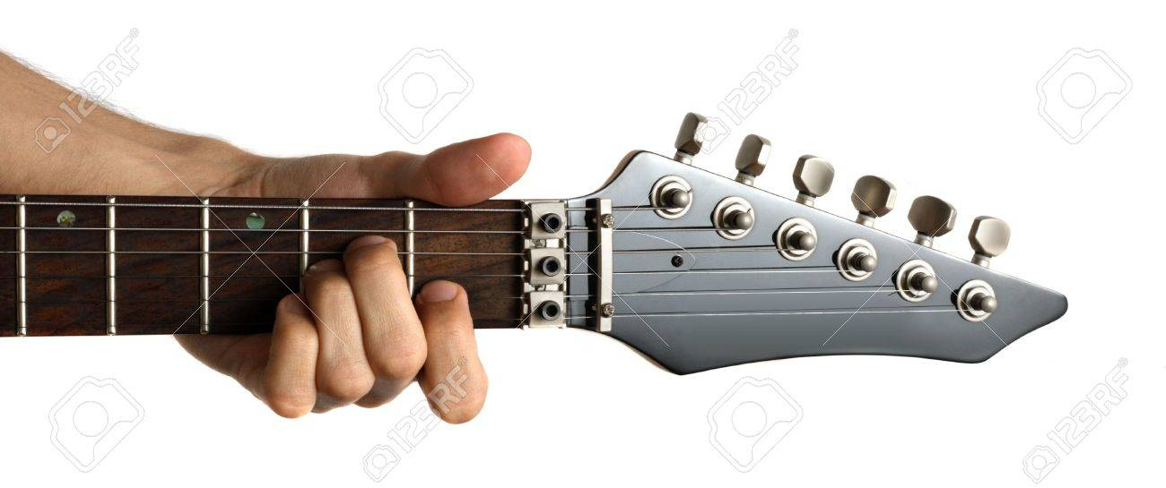 Hand Fingering Am Chord On Electric Guitar Isolated On White