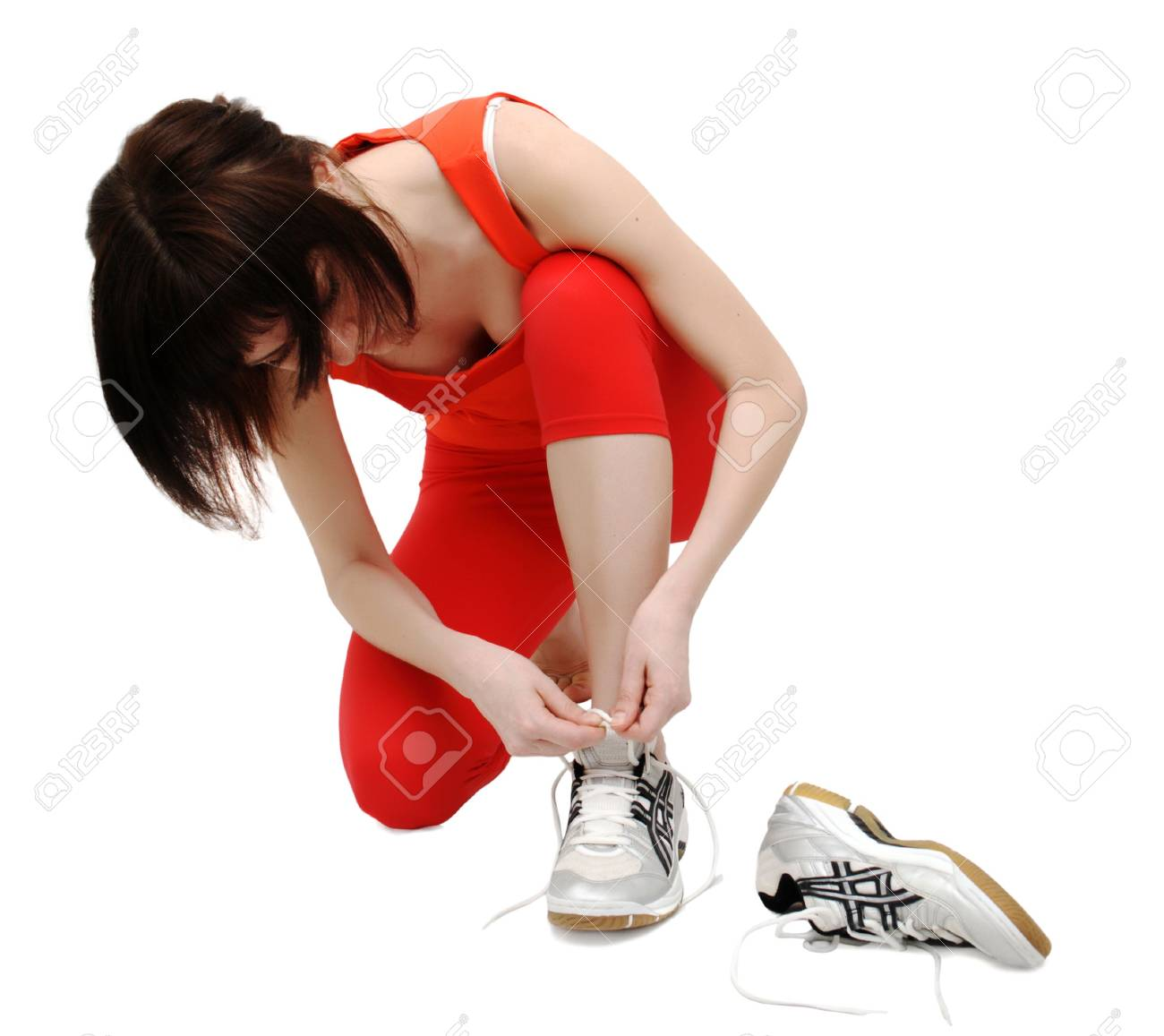 Woman getting ready for a run Stock Photo - 4832756