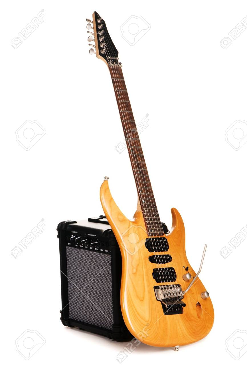 Electric guitar with amplifier, white background Stock Photo - 6724602