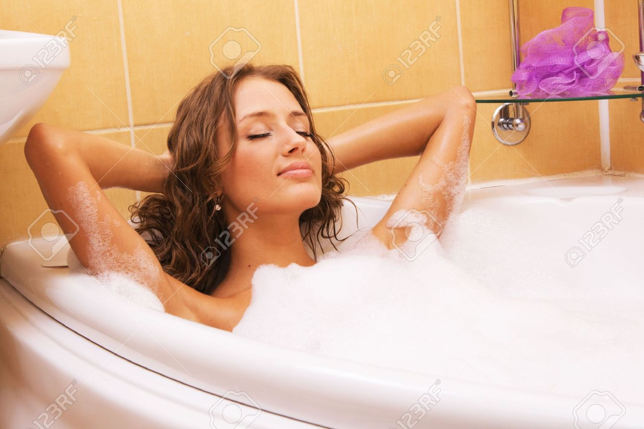 Hot bathroom pictures - Hot Bath Young Beautiful Woman Relaxing In A Bath Stock Photo