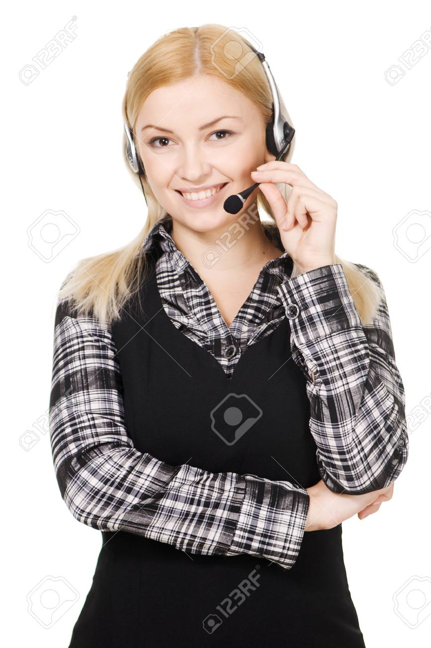 Cheerful professional call center operator, white background Stock Photo - 6937009