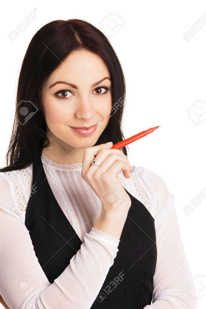 Cute businesswoman pointing aside with a marker, white background Stock Photo - 6942032