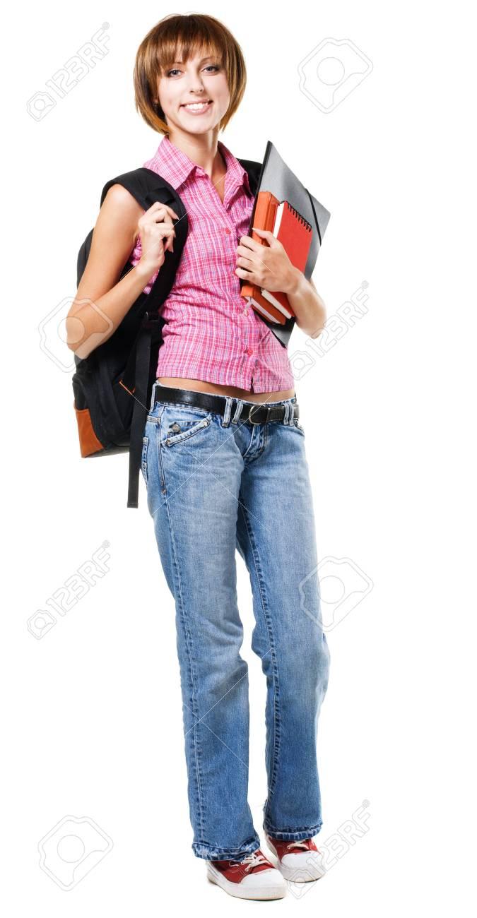 Lovely student girl against white background Stock Photo - 8092024