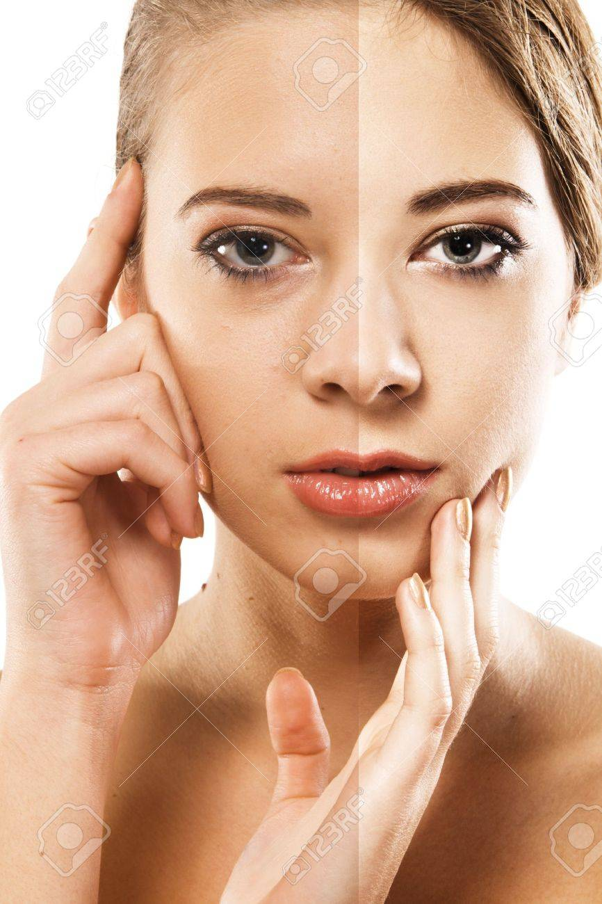 Woman's face correction. Closeup portrait half-and-half Stock Photo - 8296514