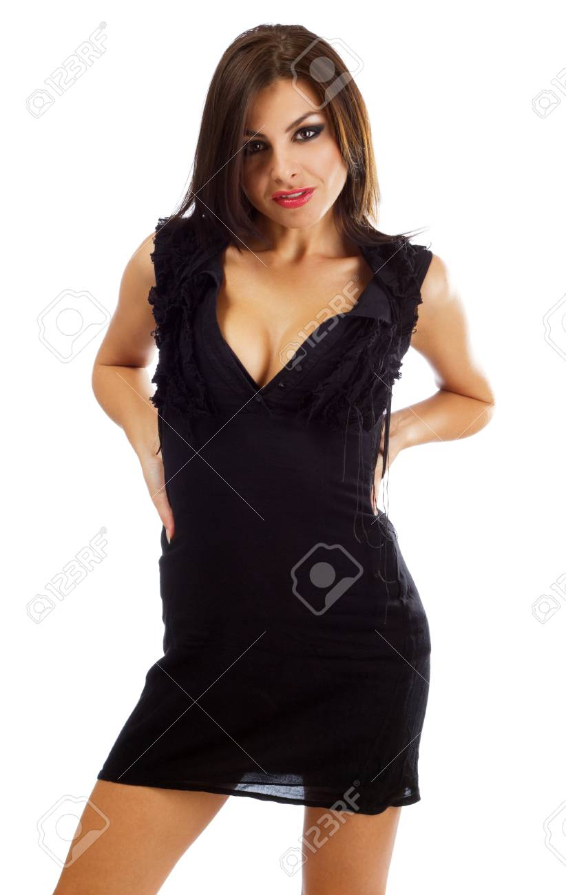 Sexy young woman in black dress, isolated on white background Stock Photo - 10699701