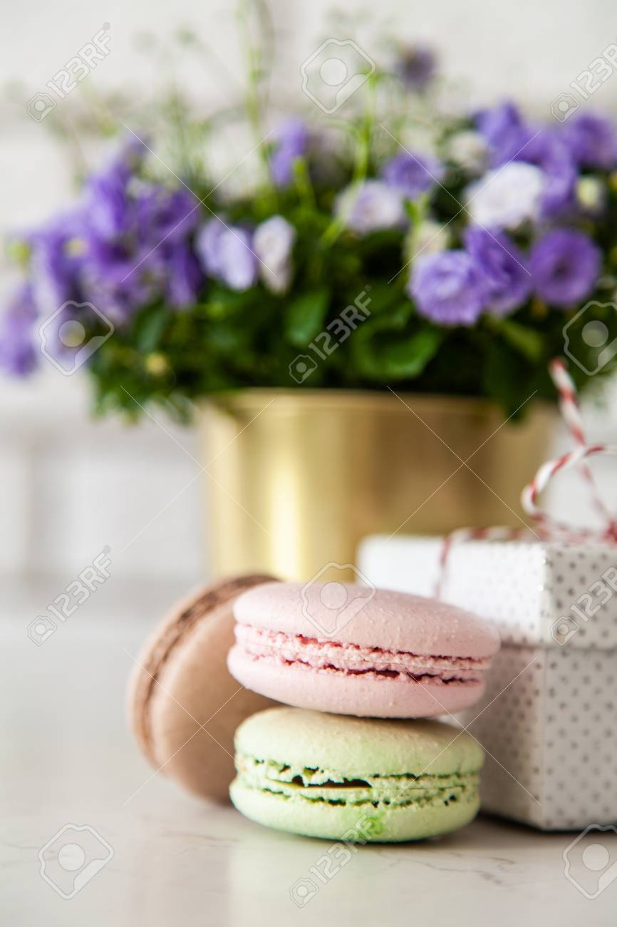 Macarons gift boxes and flowers Stock Photo - 117407829 & Macarons Gift Boxes And Flowers Stock Photo Picture And Royalty ...