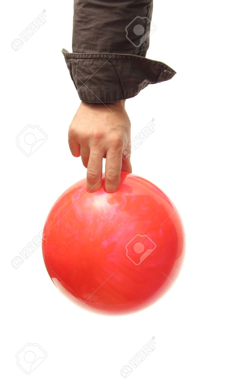 Closeup Of A Hand Holding A Bowling Ball Over White Stock Photo