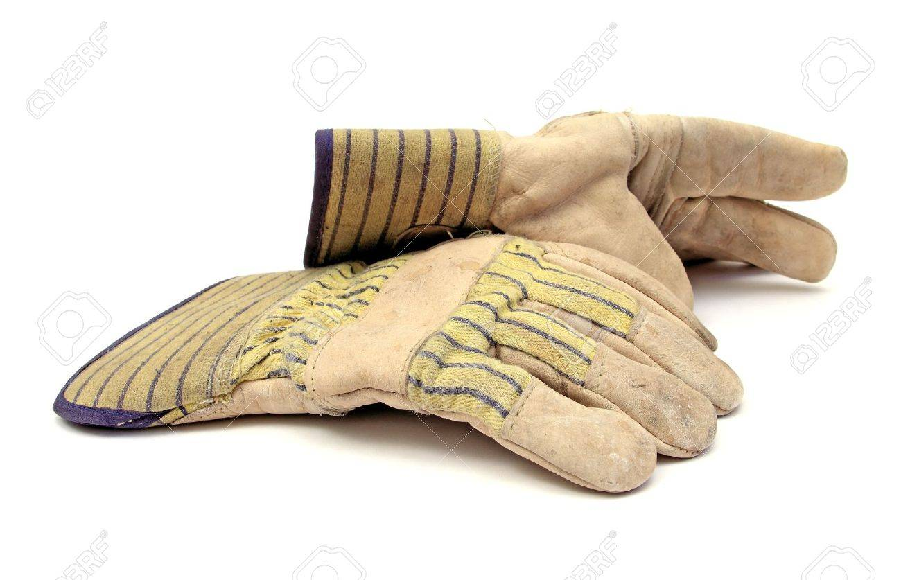 pair of working gloves over white Stock Photo - 11325392