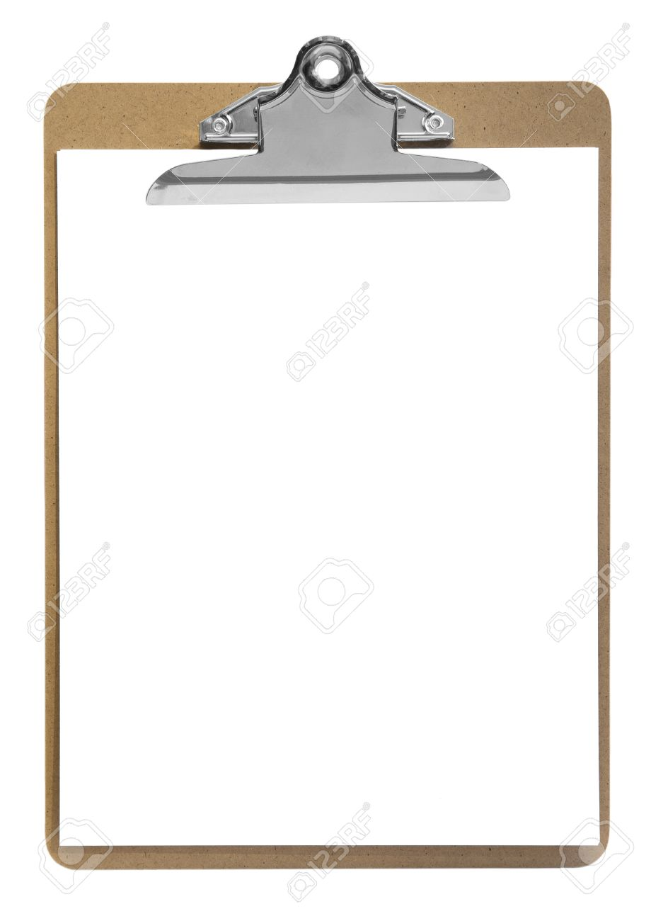 clipboard with paper isolated on white stock photo picture and