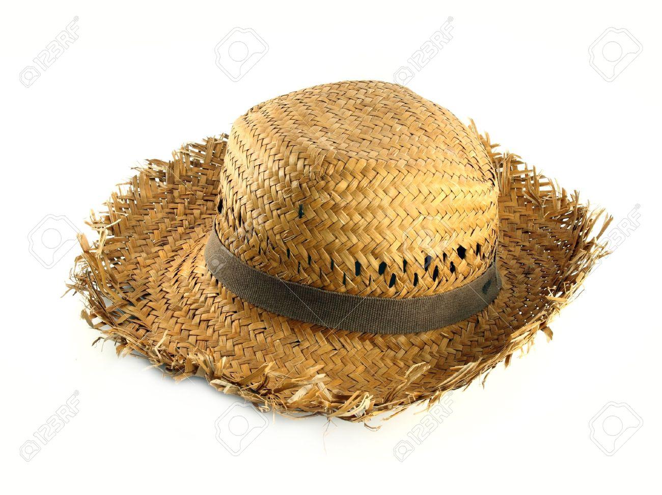 sombrero paja sombrero de paja en el fondo blanco