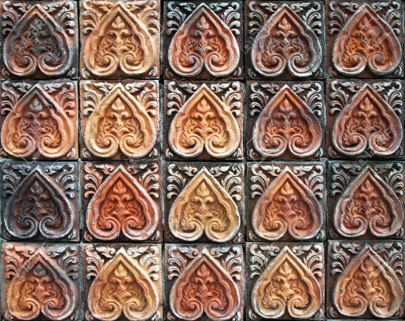 Ancient Decorative Tiles In The East Thailand Stock Photo