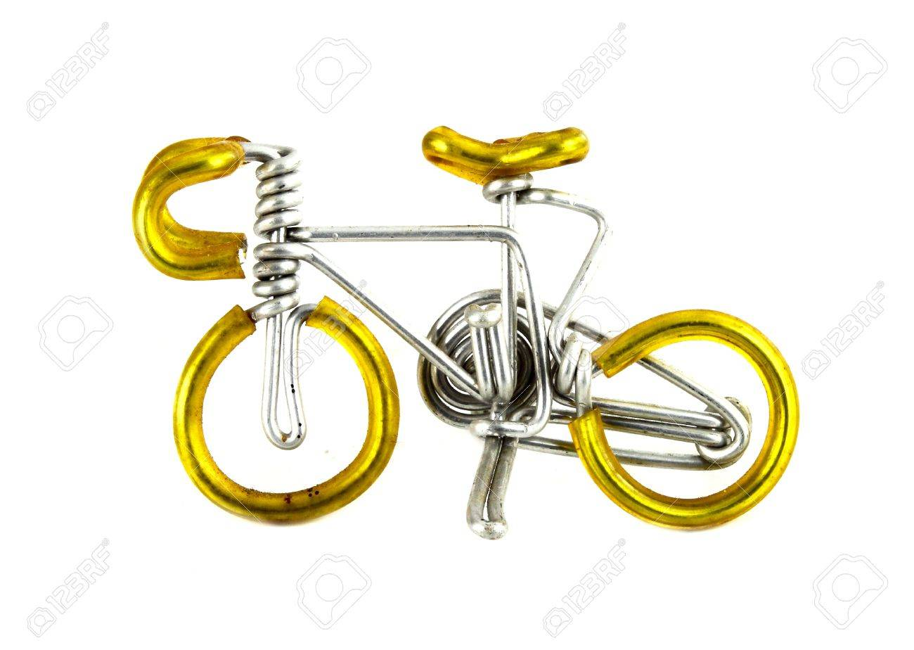 Handwerk Fahrrad Auf Weißem Hintergrund (aus Draht) Lizenzfreie ...