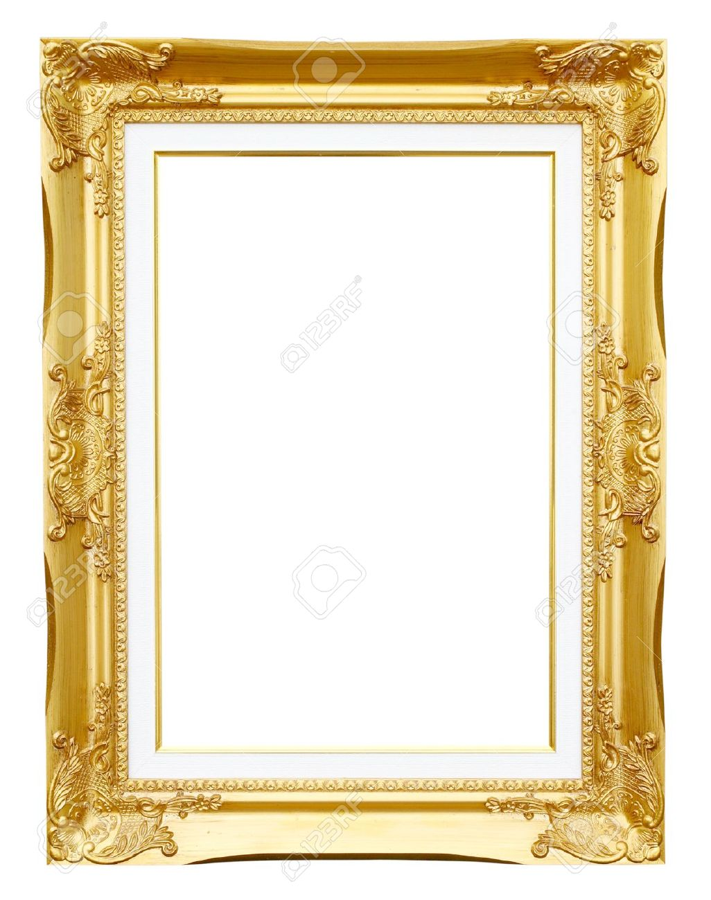 Golden Frame Picture On White Background Stock Photo, Picture And ...