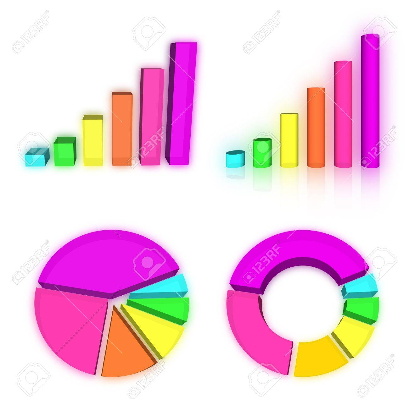 Set of rainbow charts graph Stock Photo - 13965125