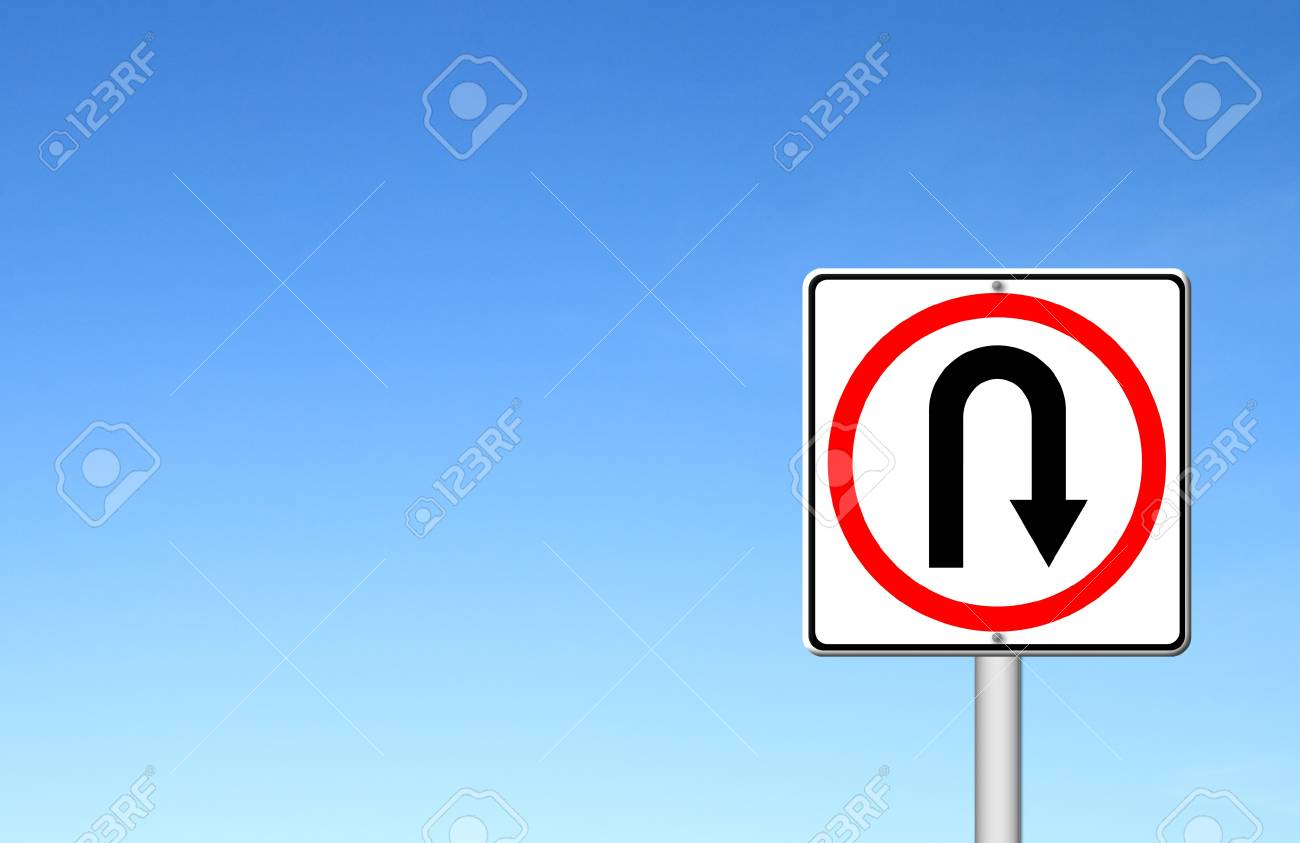 Turn back road sign over blue sky blank for text Stock Photo - 15467839