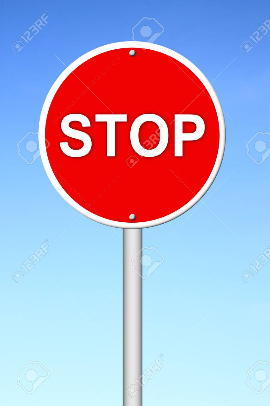 stop sign with blue sky Stock Photo - 16436585