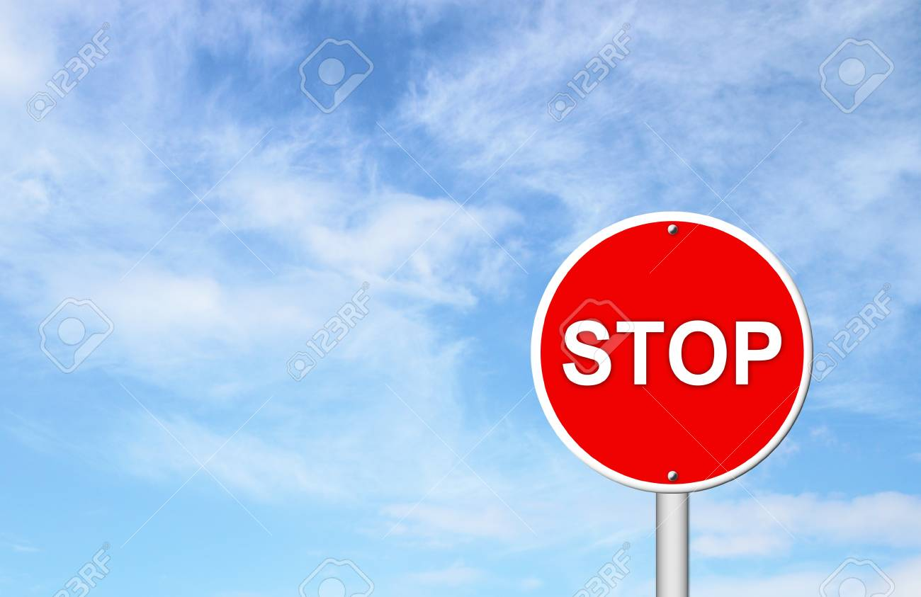 stop sign with blue sky blank for text Stock Photo - 16436566