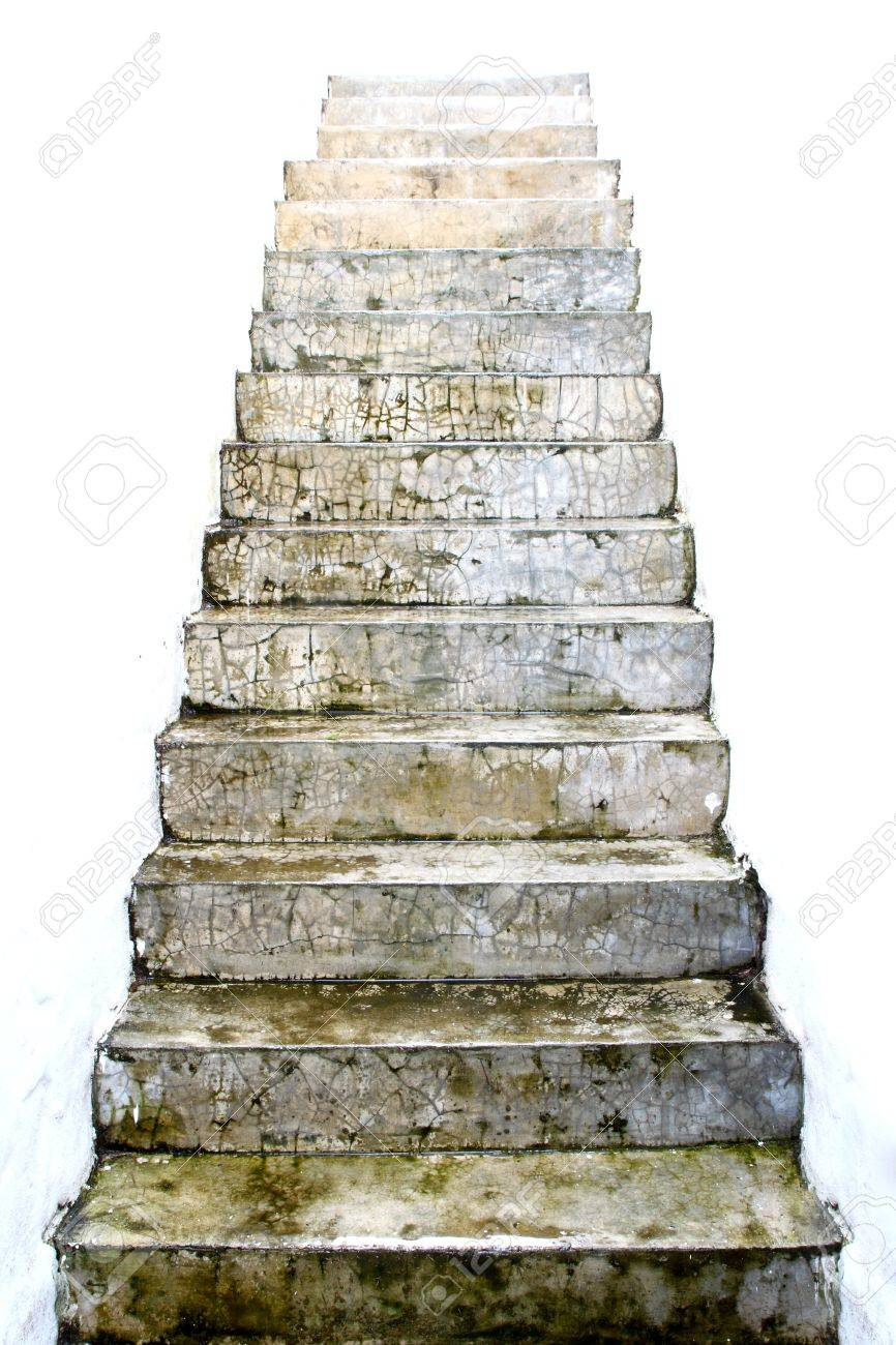 Stone Stair And White Wall Between Stock Photo   16712389