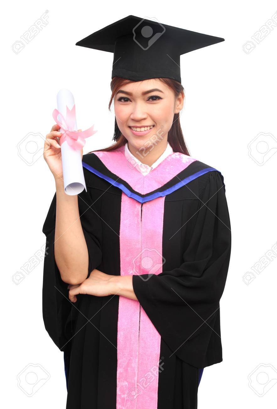 d7b3d1c3186 young woman with graduation cap and gown with arm raised holding diploma  Stock Photo - 18521683