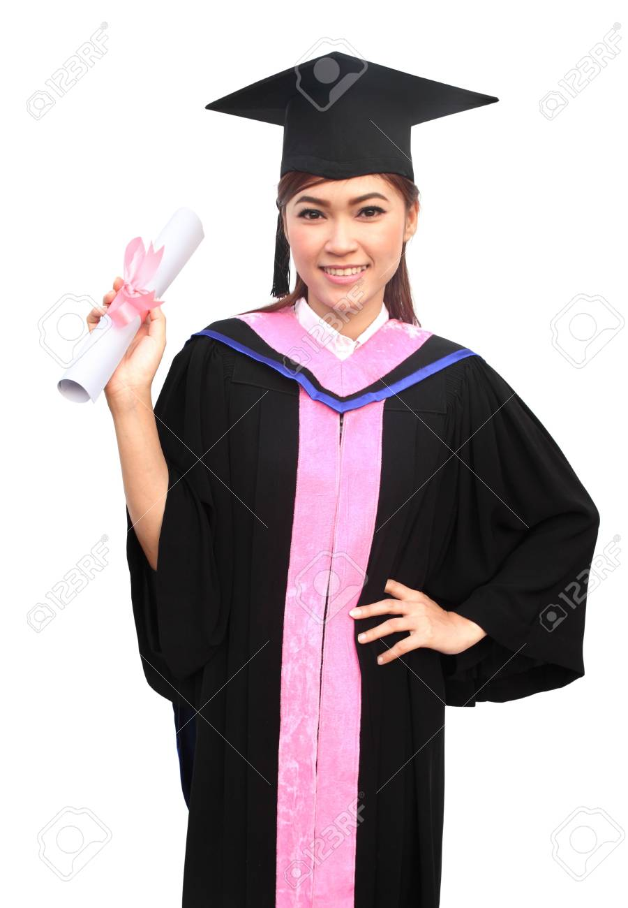c3ef44fddfb young woman with graduation cap and gown with arm raised holding diploma  Stock Photo - 18521673
