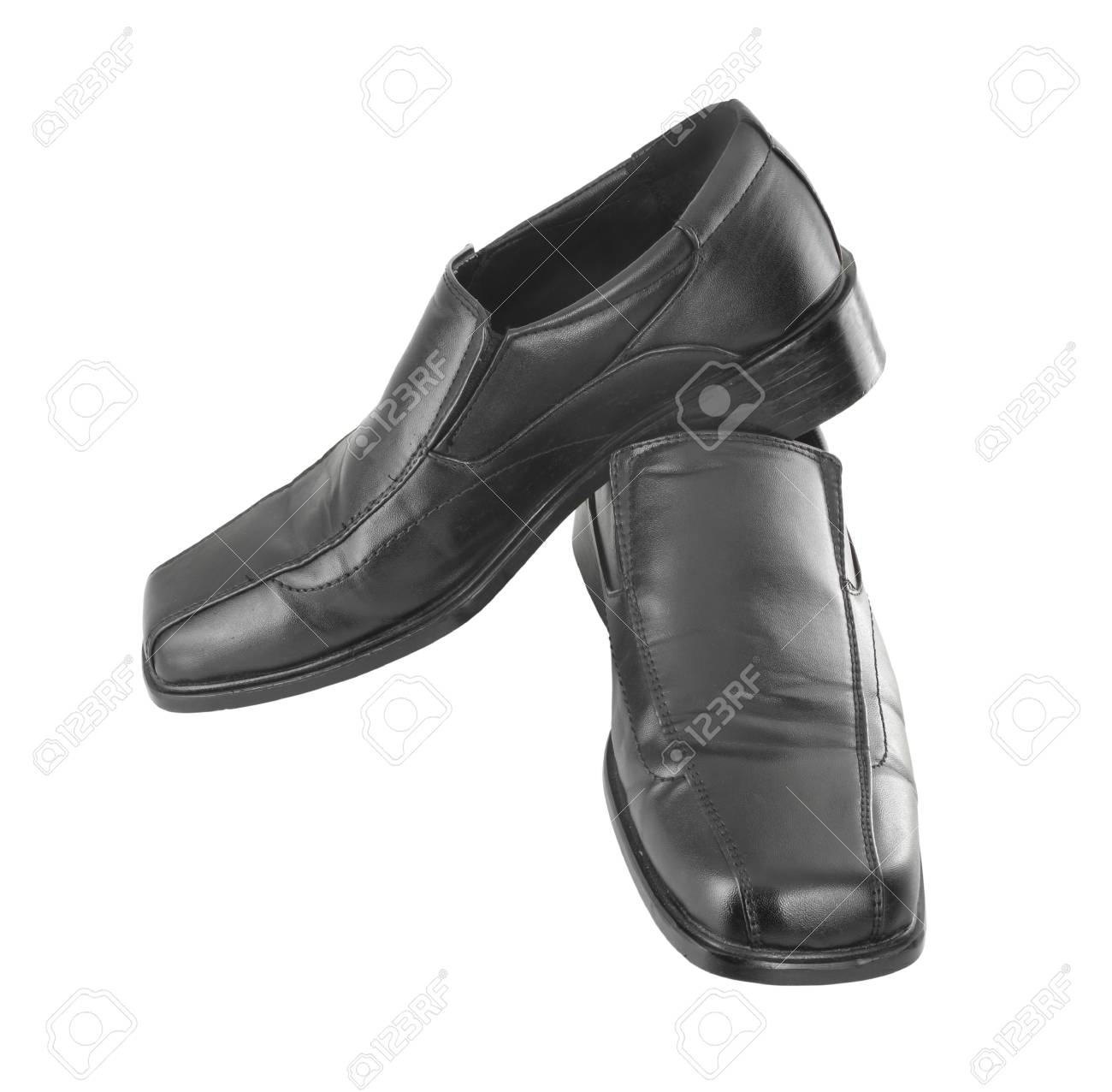 Men's black shoes on a white background Stock Photo - 18590439