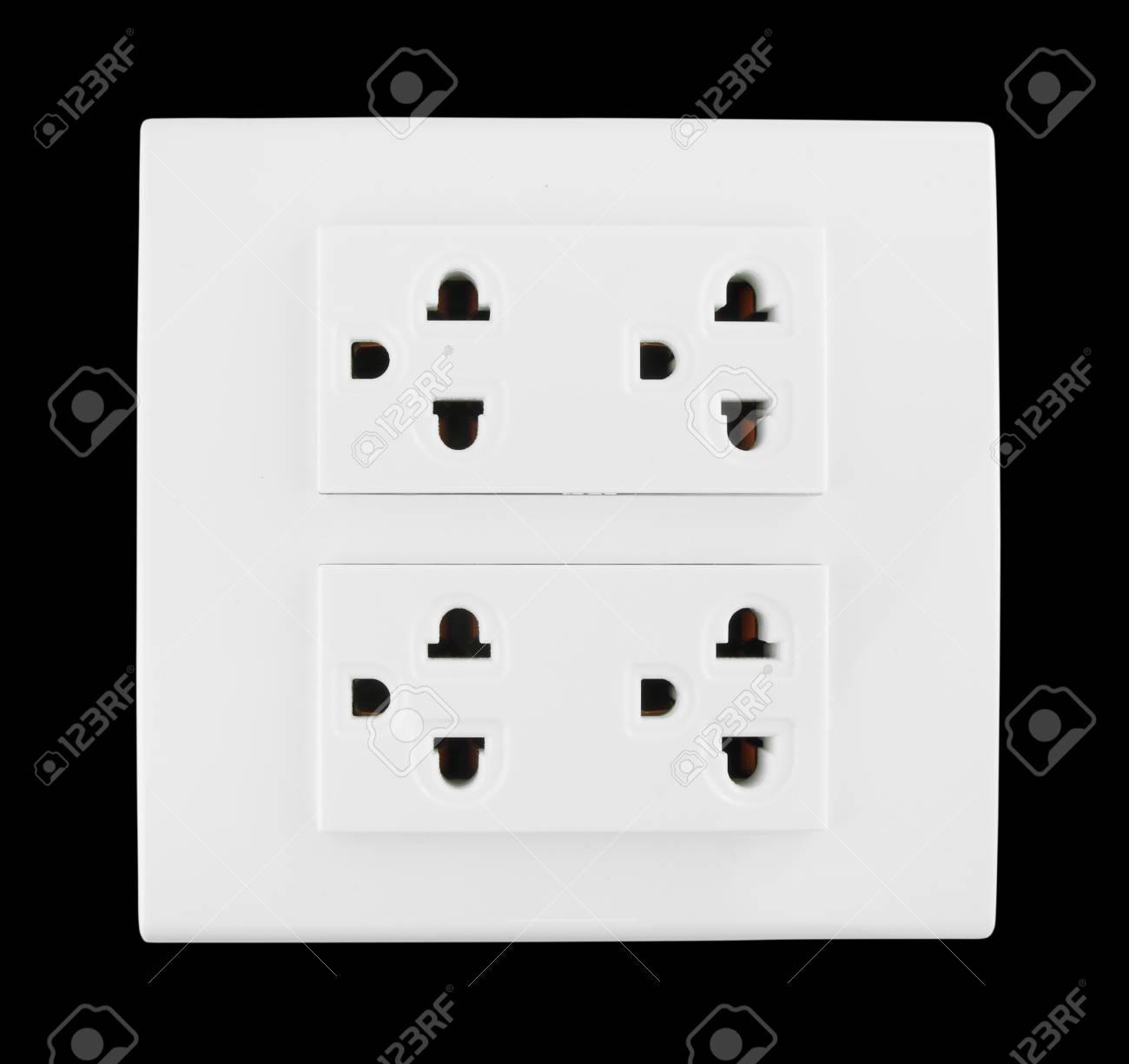 Electrical outlet (socket plug) on black background Stock Photo - 20446190