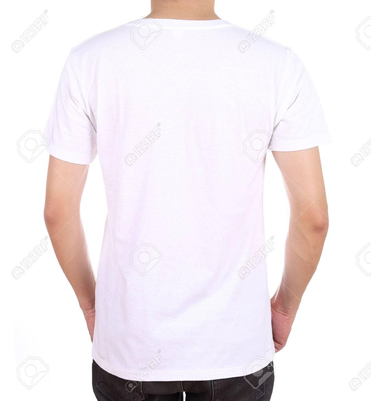 brillante n color originales nuevo baratas Blanco camiseta blanca en el hombre (parte de atrás) aislado en fondo blanco