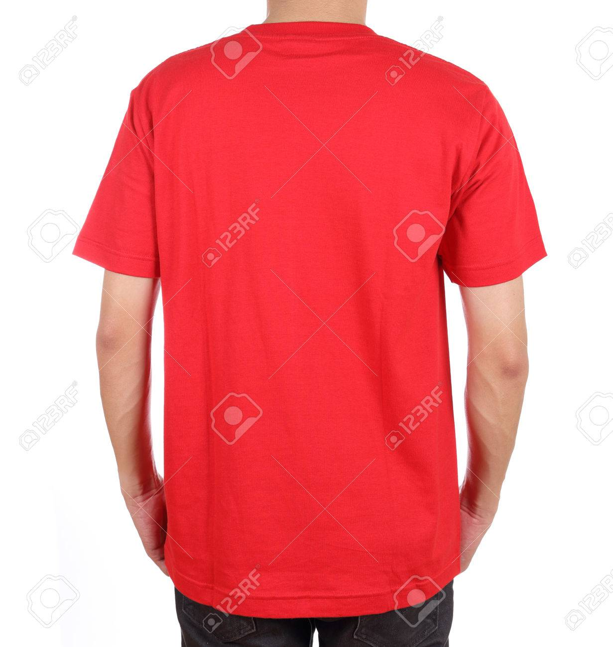 3f4769ec blank red t-shirt on man (back side) isolated on white background Stock