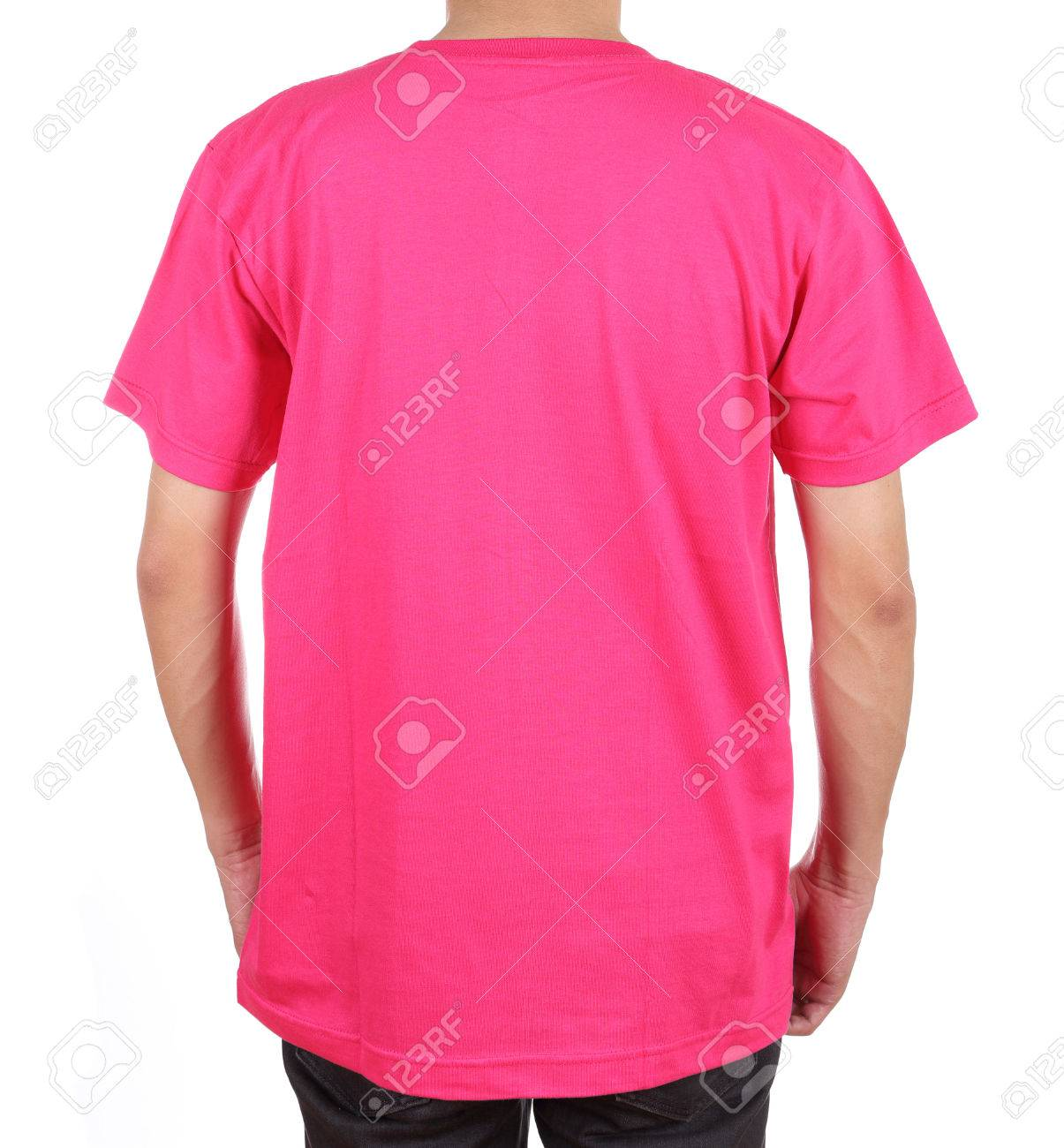 98adde4b blank pink t-shirt on man (back side) isolated on white background Stock