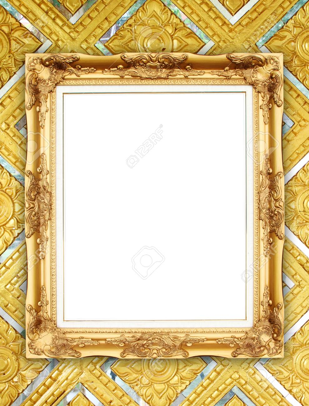 Blank Golden Frame On Thai Style Buddha Wall Stock Photo, Picture ...
