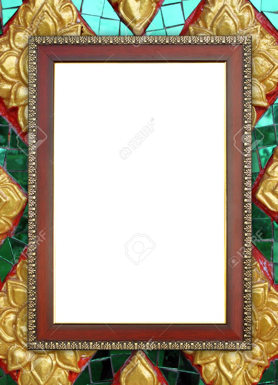 Blank Wood Frame On Buddha Wall Background Stock Photo, Picture And ...