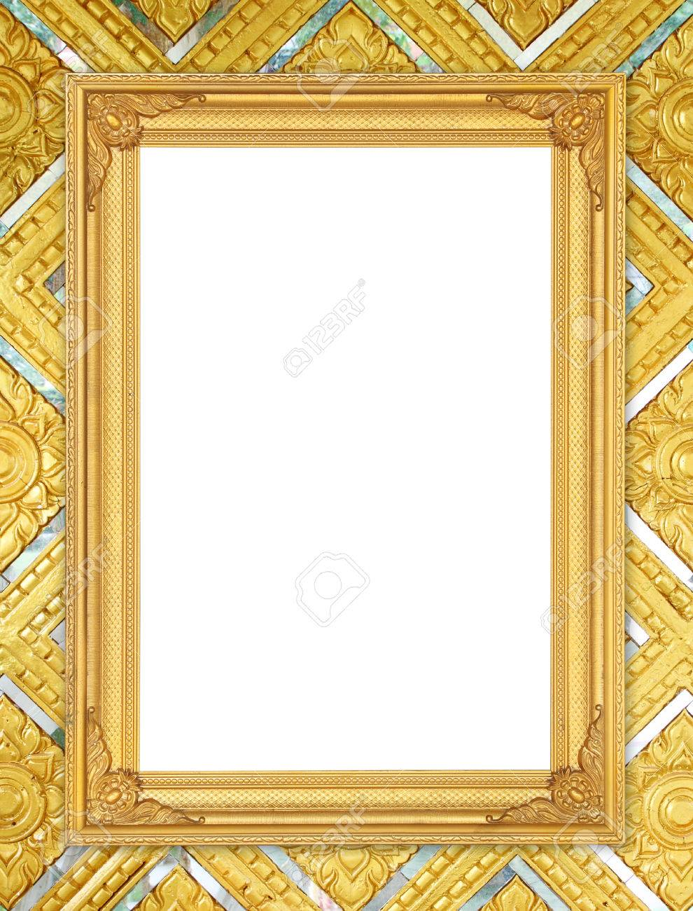 stock photo blank golden frame on thai style buddha wall background
