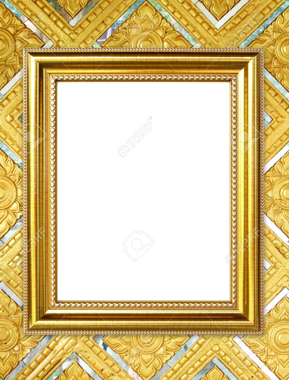 Blank Golden Frame On Thai Style Buddha Wall Background Stock Photo ...