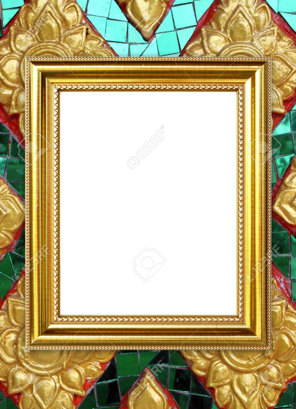 Blank Golden Frame On Thai Style Buddha Wall Background Stock Photo ...