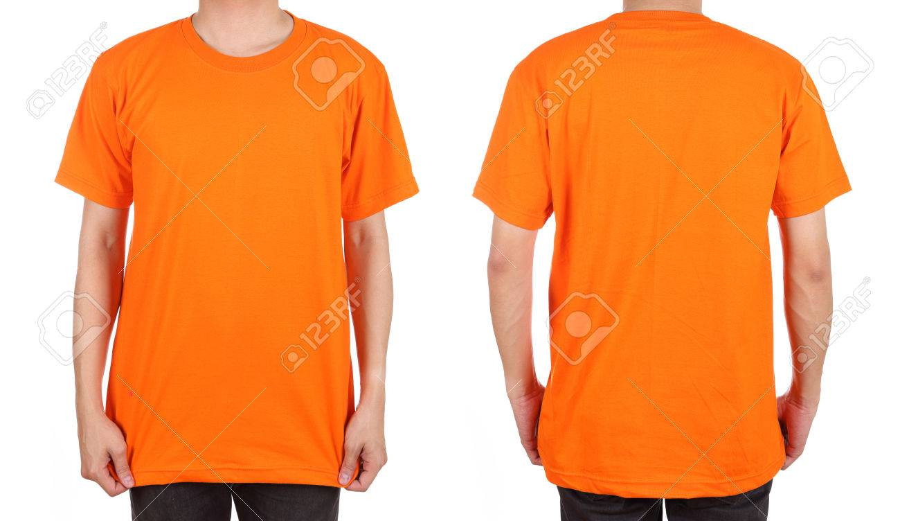 blank t-shirt set (front, back) on man isolated on white background - 33865921