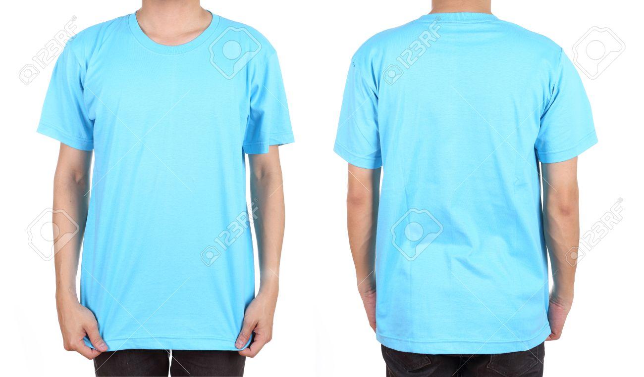Blank T Shirt Set Front Back On Man Isolated On White Background