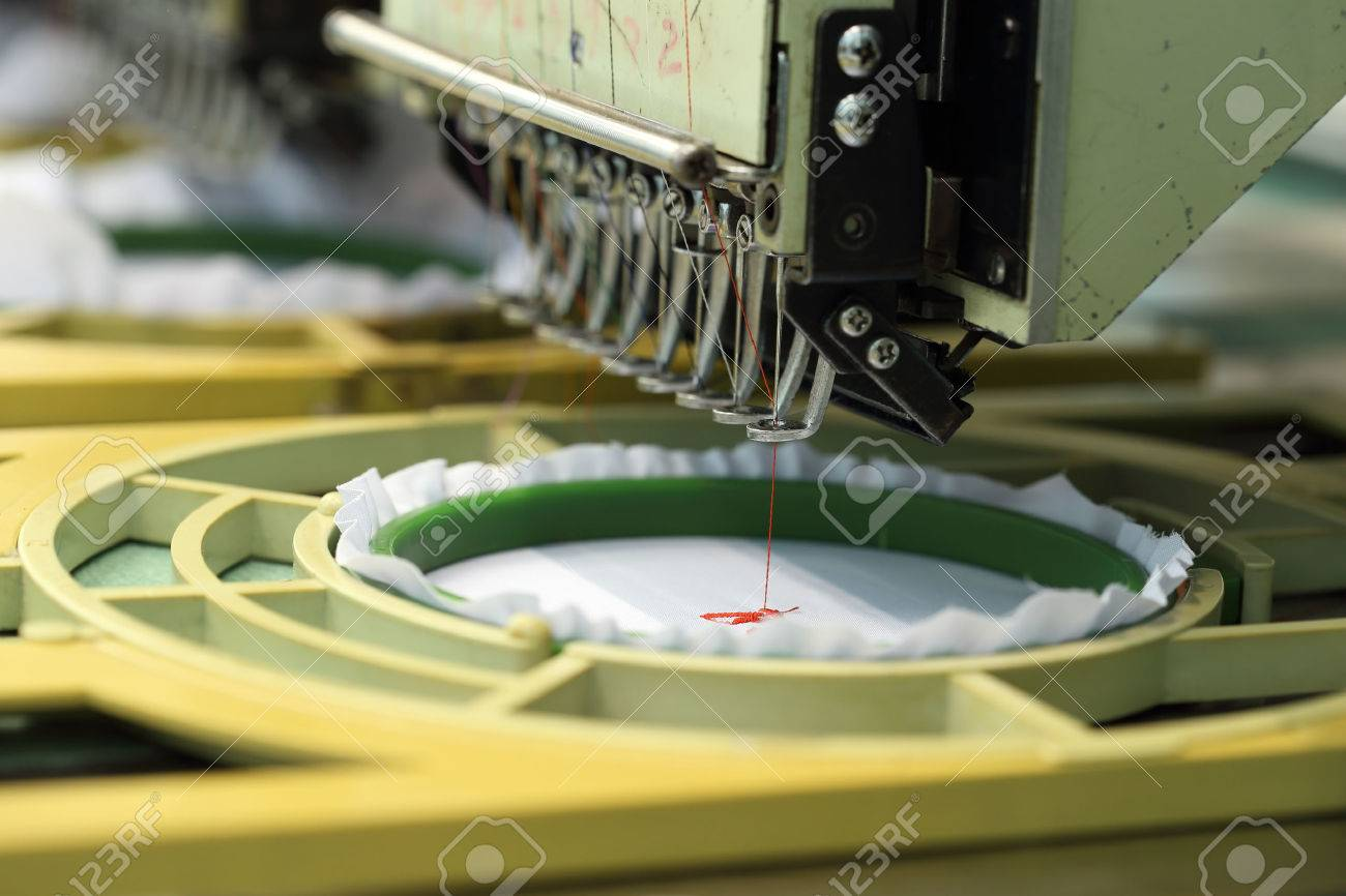 closed-up of Machine embroidery is an embroidery process whereby a sewing machine - 40139640