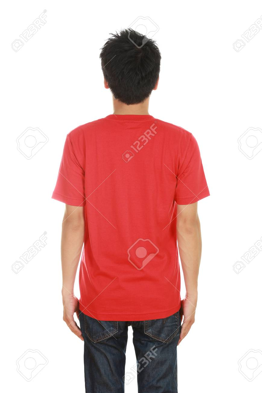 03a45fa2 man with blank red t-shirt (back side) isolated on white background Stock