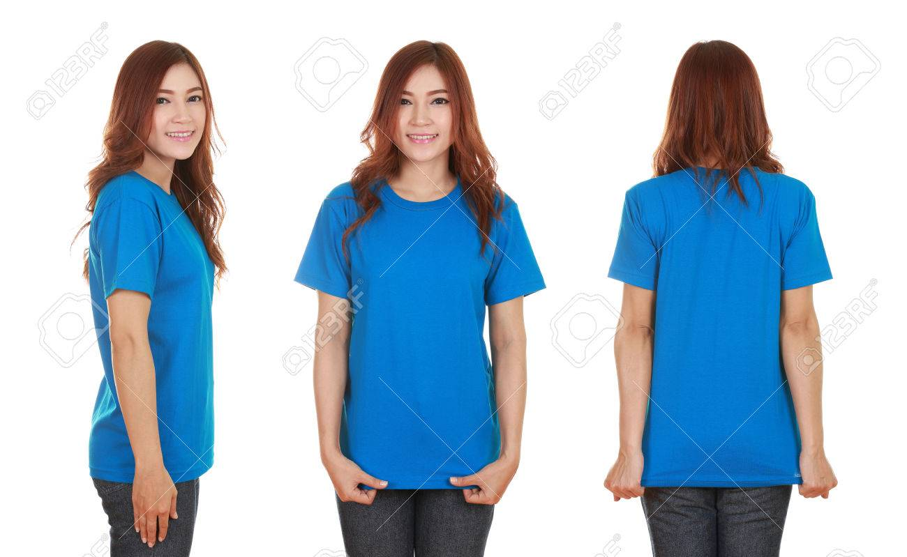 young beautiful female with blank blue t-shirt isolated on white background - 55513744