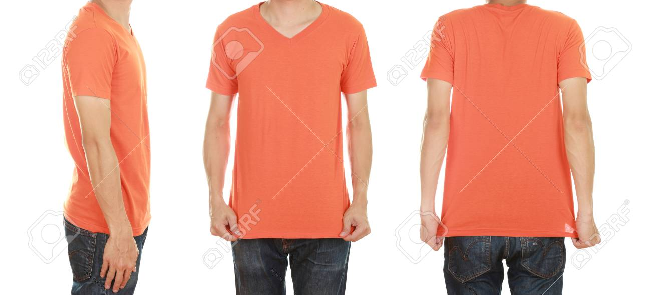 7362aa4b man with blank orange t-shirt isolated on white background Stock Photo -  55513752