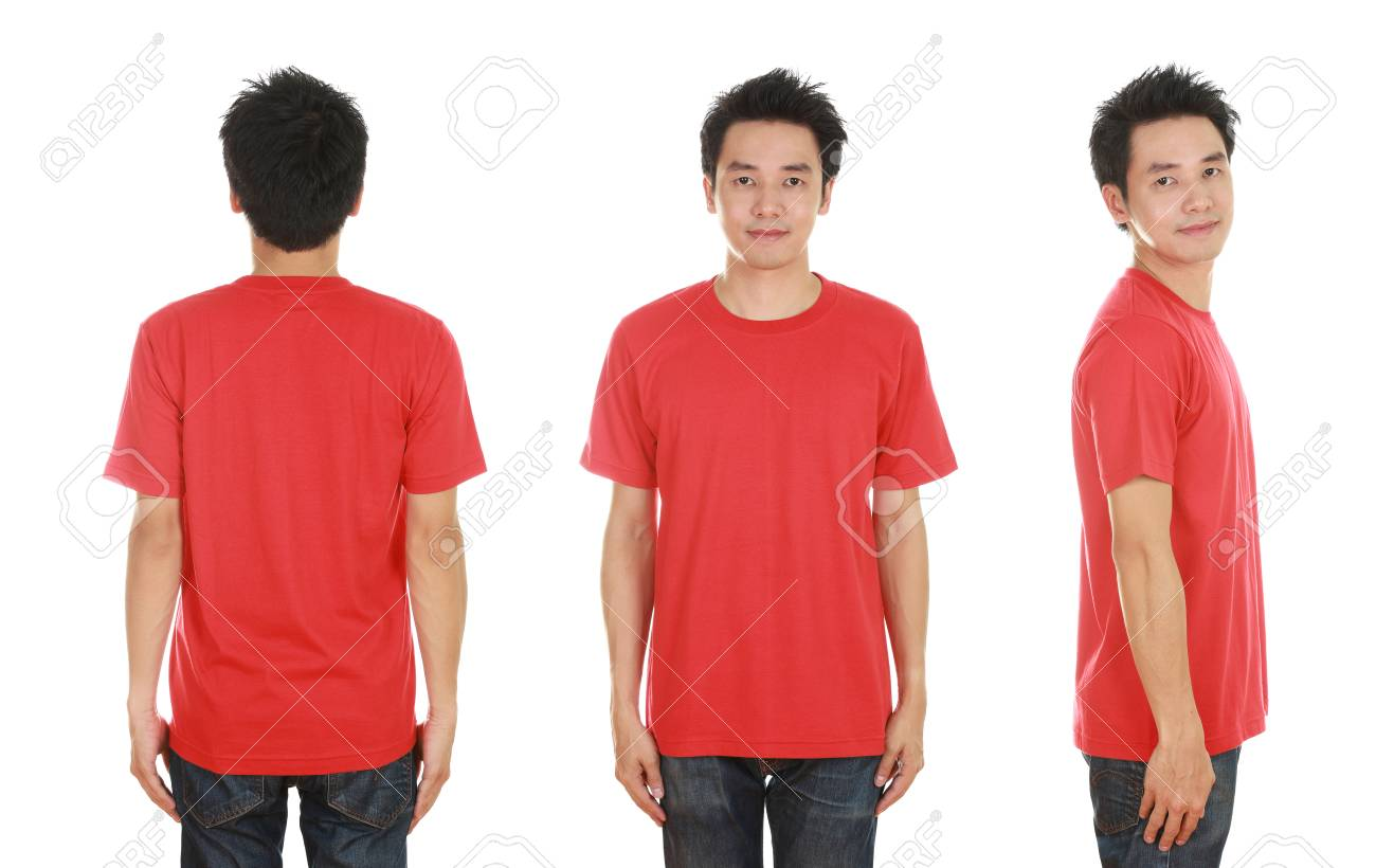 2afccb0f man with blank red t-shirt isolated on white background Stock Photo -  55513888