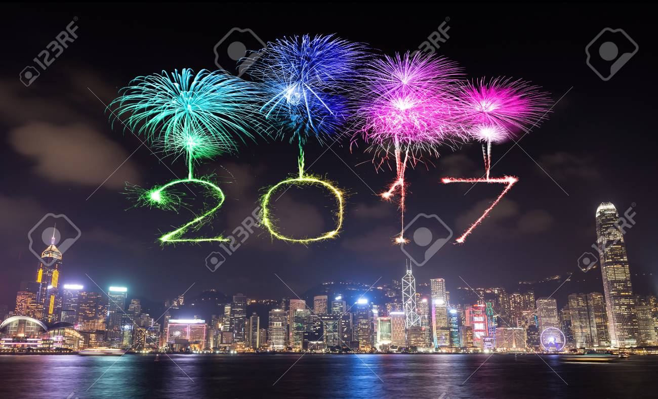2017 happy new year fireworks celebrating over hong kong city at night view from victoria