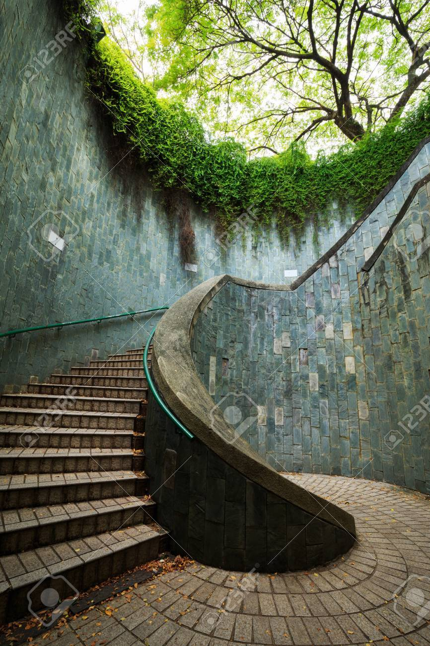 Spiral Staircase Of Underground Crossing At Fort Canning Park, Singapore  Stock Photo   85150829