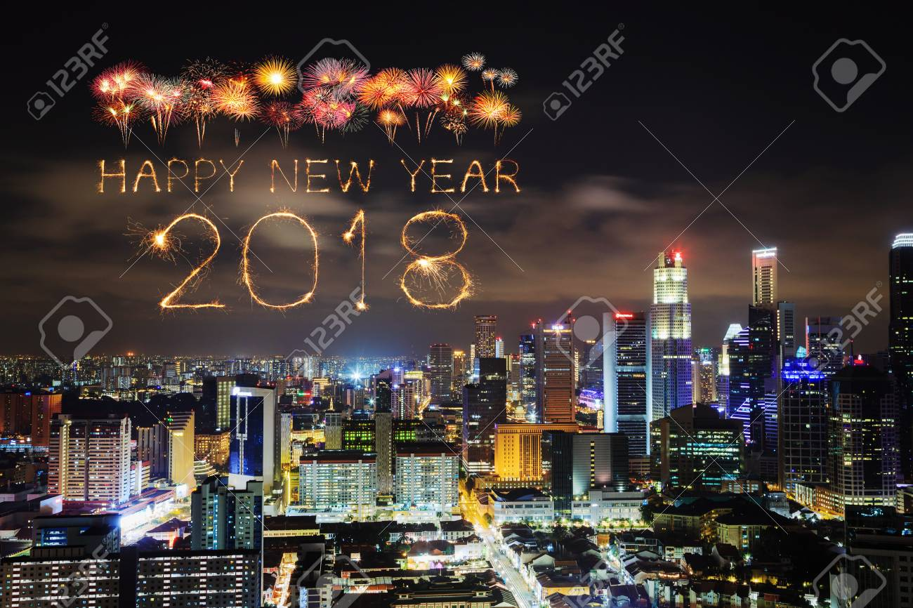 2018 happy new year firework sparkle with singapore cityscape at night stock photo 86793761