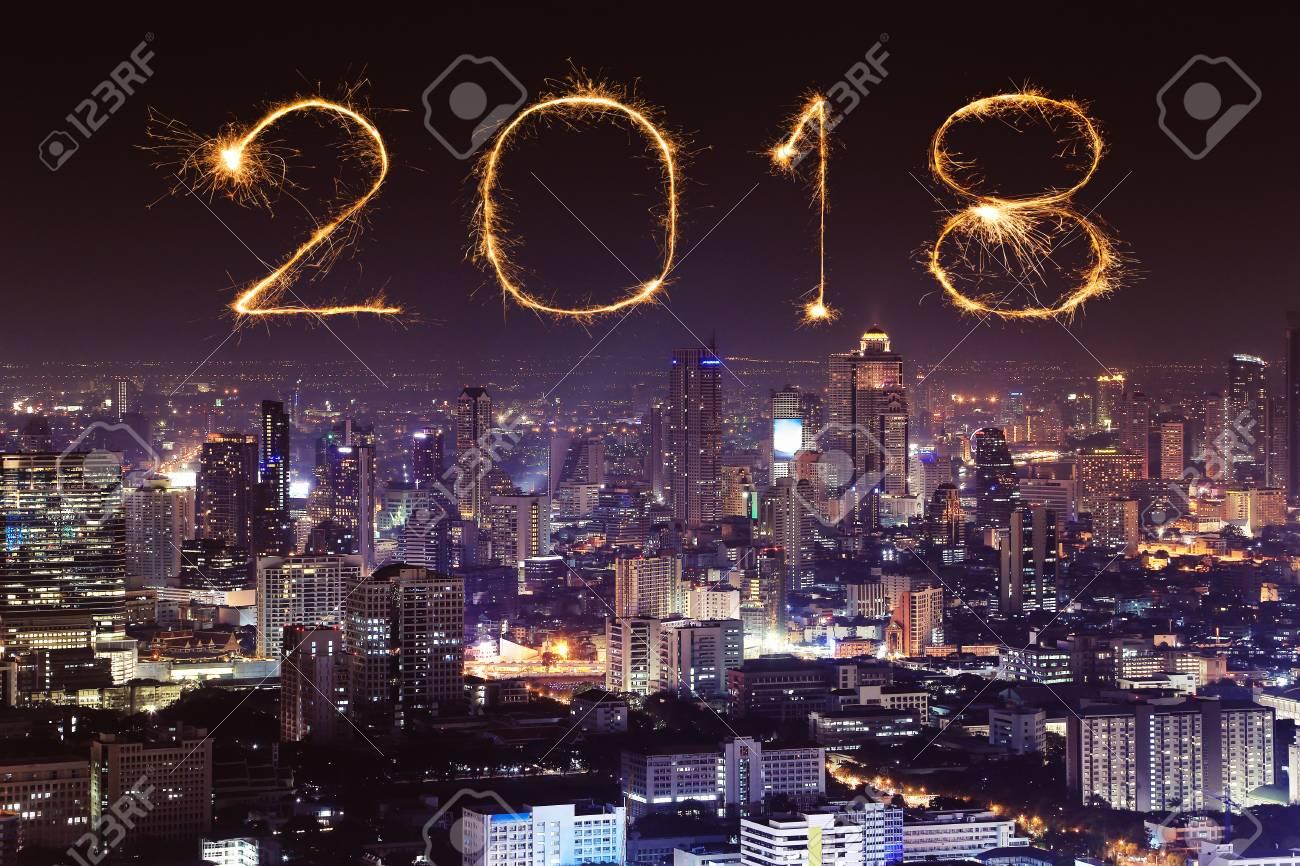 2018 happy new year firework sparkle with bangkok cityscape at night thailand stock photo