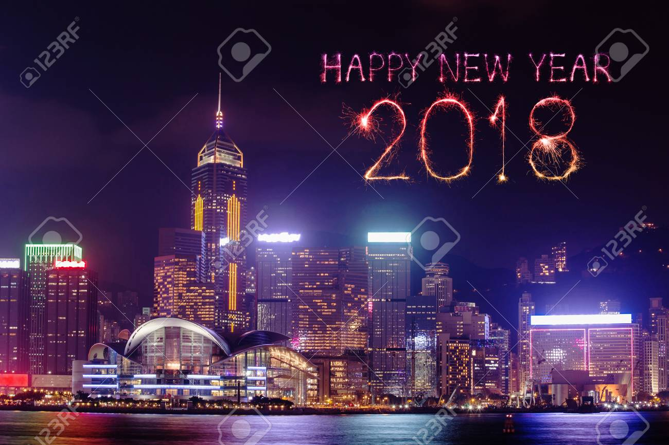 2018 happy new year firework sparkle with hong kong cityscape at night stock photo 87391472