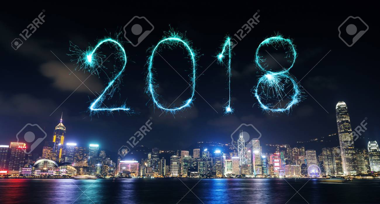 2018 happy new year firework sparkle with hong kong cityscape at night stock photo 87099026
