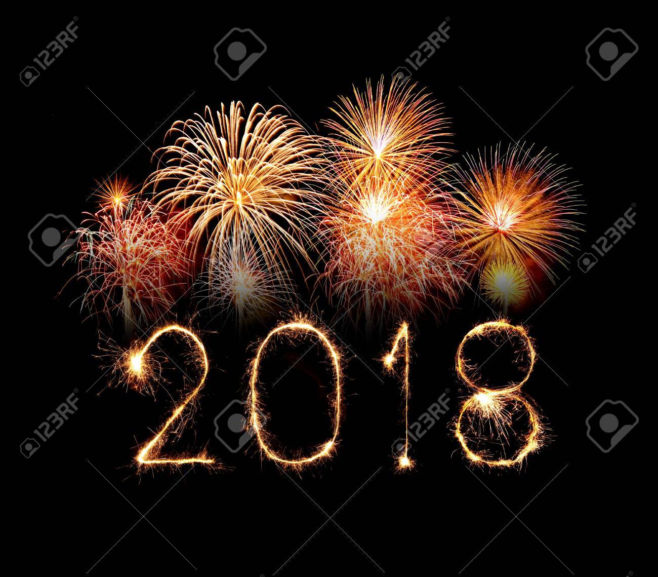 Happy new year 2018 written with Sparkle firework at night - 87163918