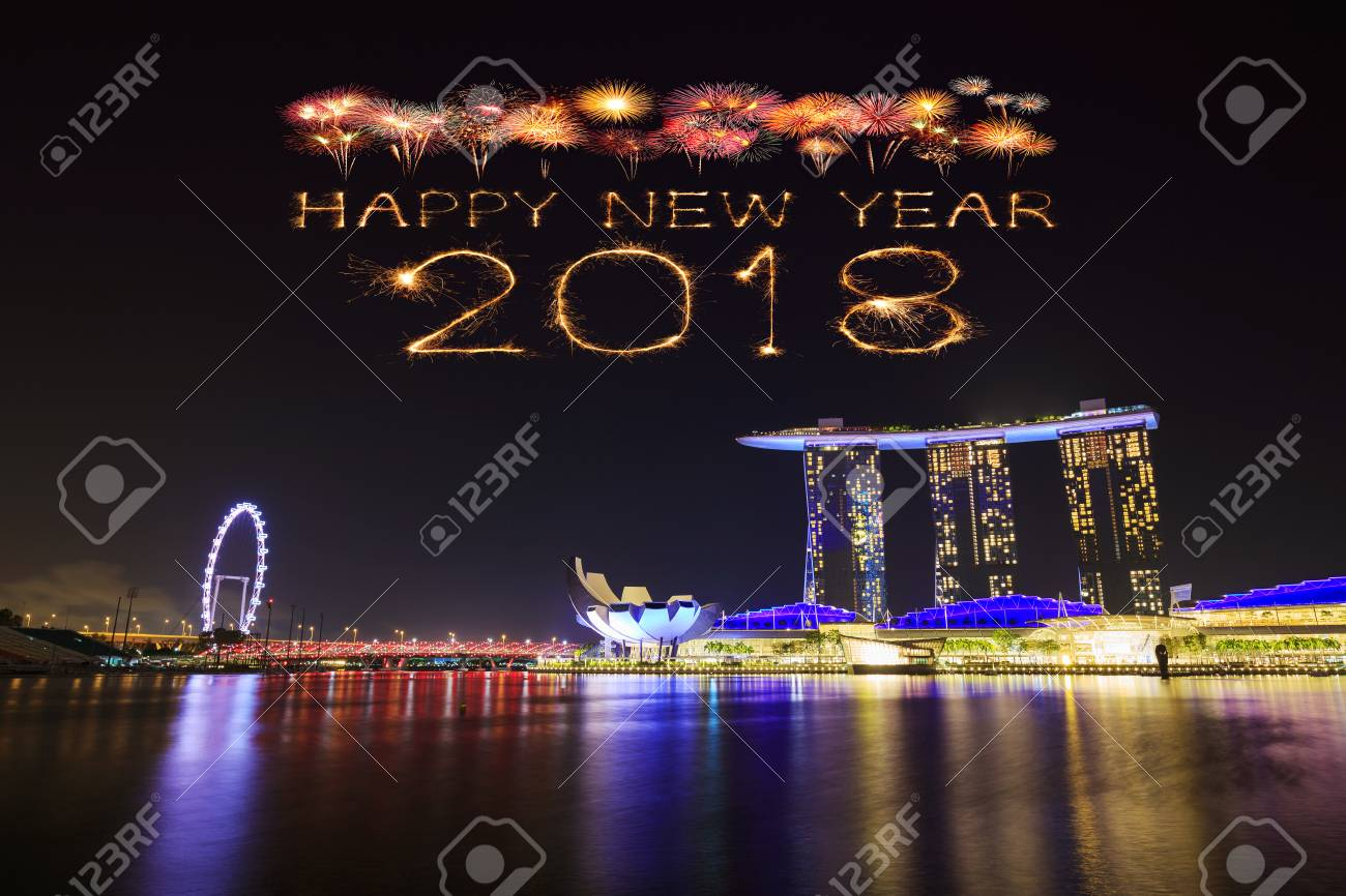 2018 happy new year firework sparkle with singapore cityscape at night stock photo 86773178