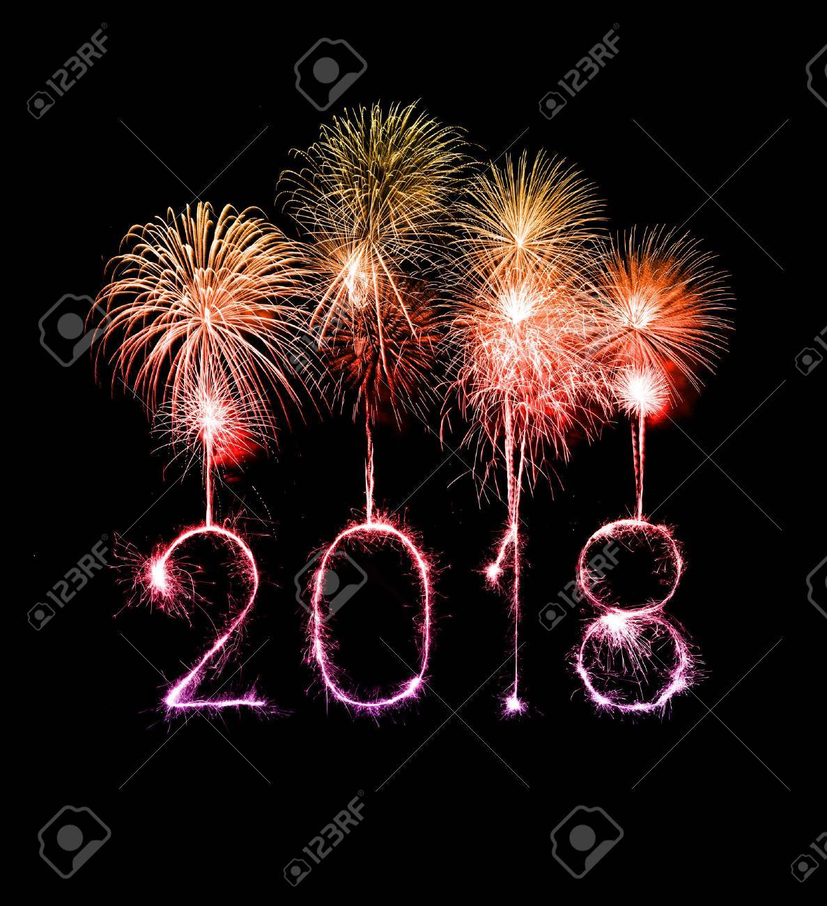 Happy new year 2018 written with Sparkle firework at night - 87099033